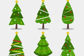 6款扁平化绿色圣诞树矢量素材