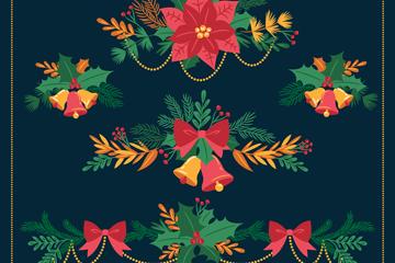 5款彩绘圣诞植物装饰物矢量图