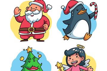 4款可爱圣诞节角色矢量素材