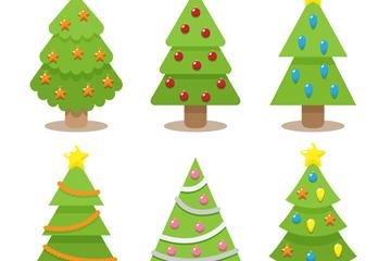 6款彩绘可爱圣诞树矢量素材