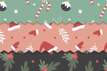 3款创意圣诞无缝背景矢量素材