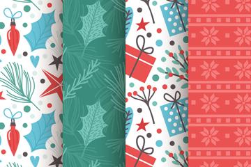 4款清新圣诞无缝背景矢量素材