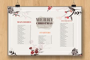 水彩绘圣诞节挂式菜单设计矢量素材
