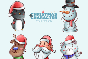 5款手绘可爱圣诞角色矢量素材
