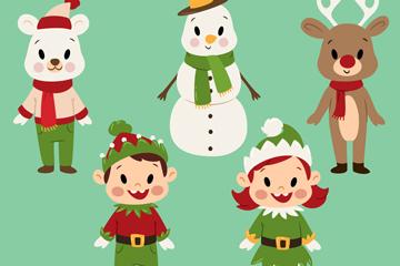 5款可爱卡通圣诞角色矢量素材