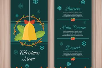 精致铃铛圣诞餐馆菜单正反面矢量图