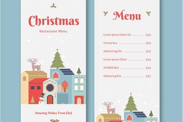 清新圣诞小城餐馆菜单矢量素材