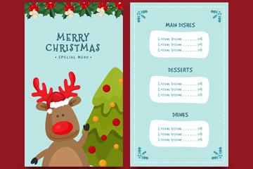 创意驯鹿圣诞菜单正反面矢量图