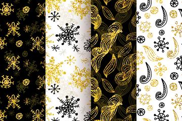 4款手绘金色雪花无缝背景矢量图