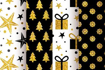 4款金色圣诞元素无缝背景矢量图