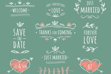 10款手绘婚礼装饰矢量素材