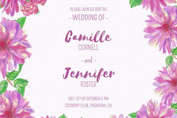 手绘紫色花卉框架婚礼海报矢量素材