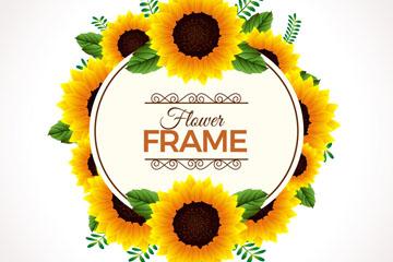 创意葵花框架矢量素材