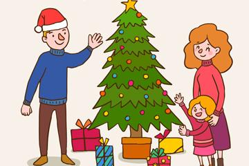 创意圣诞节三口之家矢量素材