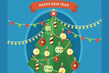 精致圣诞树设计矢量素材