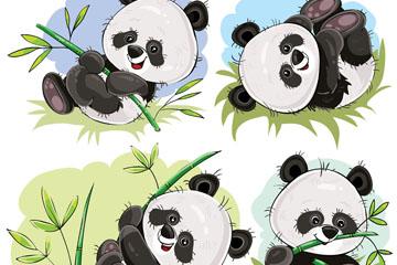 4款手绘可爱熊猫和竹子矢量素材