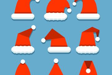 9款精致红色圣诞帽矢量素材