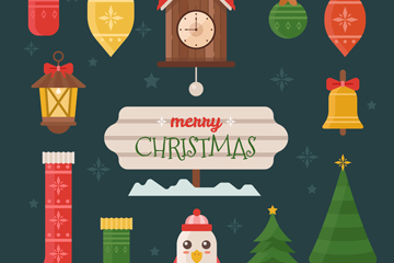 13款扁平化圣诞节装饰矢量图