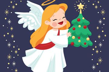 创意金发圣诞天使矢量素材