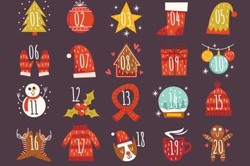 彩绘圣诞月月历设计矢量图