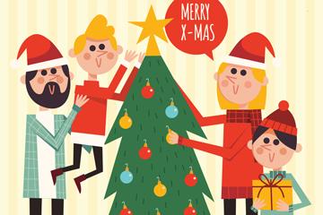创意圣诞节四口之家矢量素材