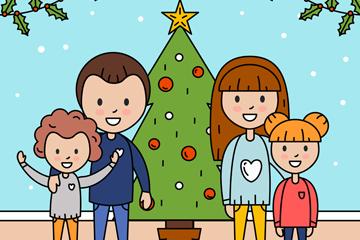 创意圣诞节笑脸四口之家矢量图