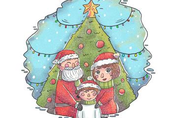 彩绘圣诞节三口之家矢量图