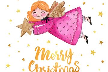 彩绘圣诞天使和星星矢量素材