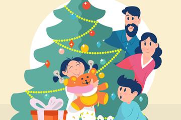 创意幸福圣诞节四口之家矢量图