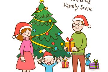 创意圣诞节家庭场景矢量素材
