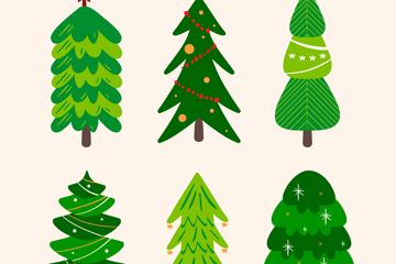 6款创意绿色圣诞树设计矢量素材