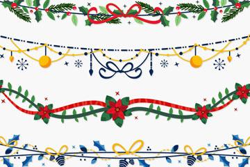 4款精致圣诞节装饰品矢量图