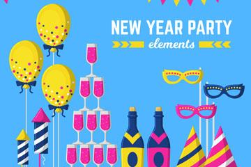 13款创意新年派对元素矢量素材