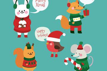5款卡通圣诞动物矢量素材