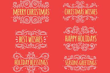 8款白色花纹圣诞快乐艺术字矢量图
