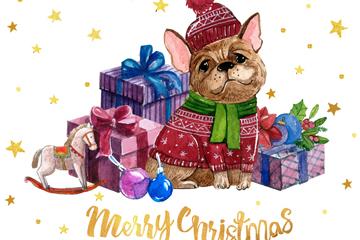 水彩绘圣诞节哈巴狗矢量素材