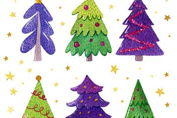 6款手绘彩色圣诞树矢量图