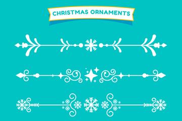 4款白色圣诞节装饰花边矢量素材