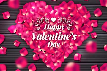 红色玫瑰花瓣组合情人节爱心矢量