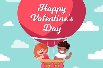 创意情人节热气球上的情侣矢量素材