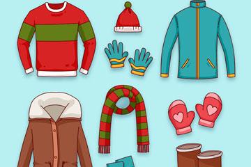 9款彩色冬季服装和配饰矢量图