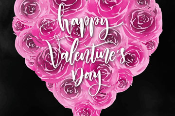 粉色情人节玫瑰爱心矢量素材