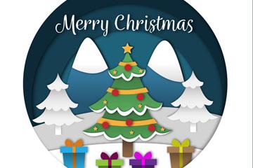 彩色质感圣诞树和礼盒矢量素材