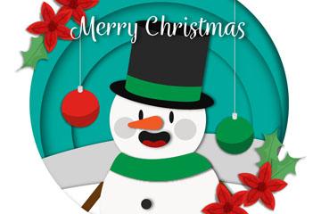 创意质感圣诞节雪人矢量素材