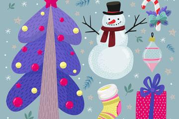 8款手绘紫色圣诞节元素矢量素材