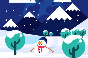 创意冬季雪地风景矢量素材