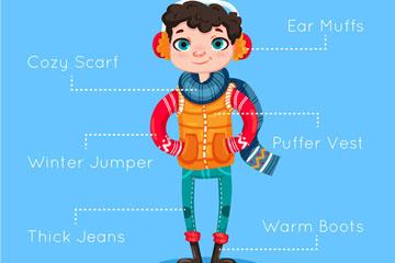 创意冬季着装男子矢量素材