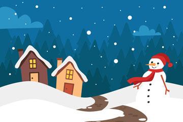 创意冬季房屋和雪人风景矢量图