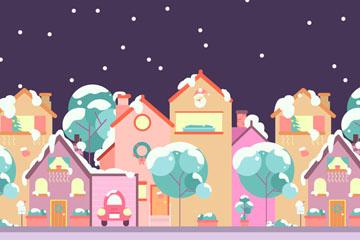 创意冬季雪夜小城风景矢量素材