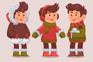 3款冬季着装男孩矢量素材